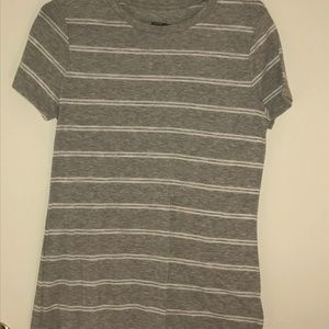 Plain Gray Striped T-shirt